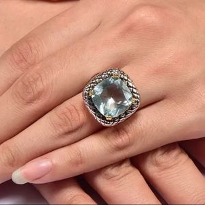 Jewelry - 5 🌟Fave! Aquamarine Sterling Silver & Gold Ring